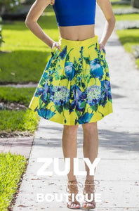 Yellow Floral Women's Skirt - Zuly Boutique Orlando Florida