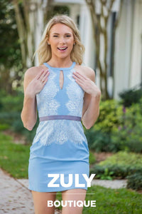 light Blue Lace Dress - Zuly Boutique Orlando Florida