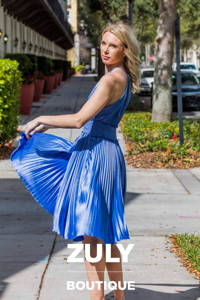 DO+BE Misty Blue Pleated Dress - Zuly Boutique Orlando Florida