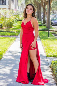 Red Satin Long Dress - Zuly Boutique Orlando Florida
