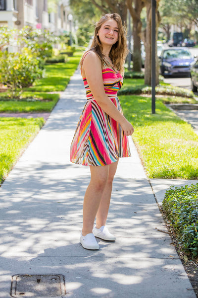 Luxxel Coral Stripes Summer Dress FINAL SALE - Zuly Boutique Orlando Florida