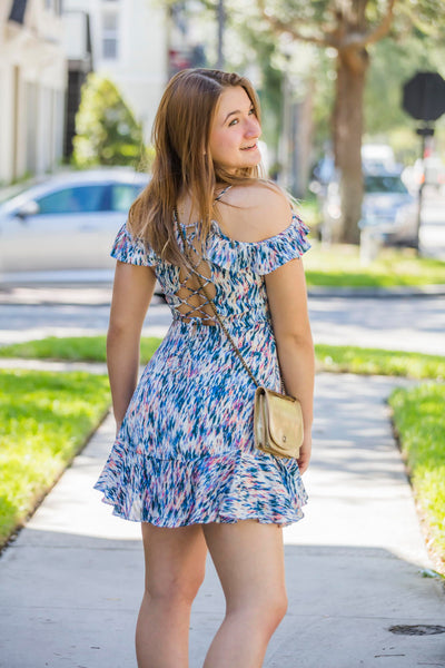 Olivaceous Blue Print Open Back Summer Dress - Zuly Boutique Orlando Florida