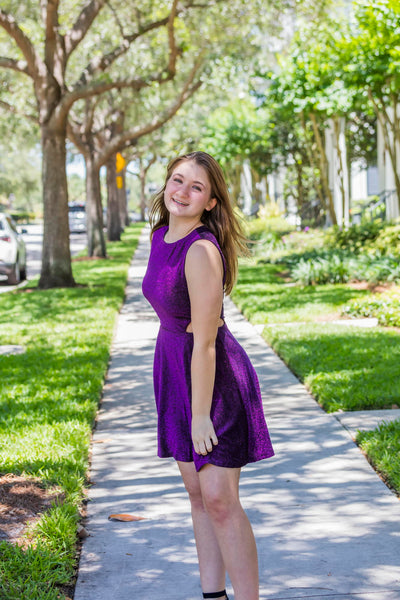 Cut out Metallic Purple Dress - Zuly Boutique Orlando Florida