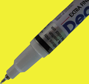 Yellow Extra Fine Tip DecoColor paint pen for writing on Garden Markers