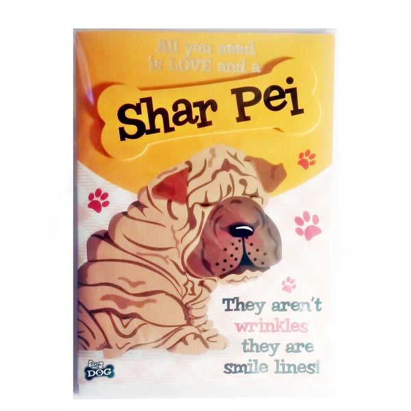 "Wags & Whiskers Dog Greeting Card ""Shar Pei"" by Paper Island"