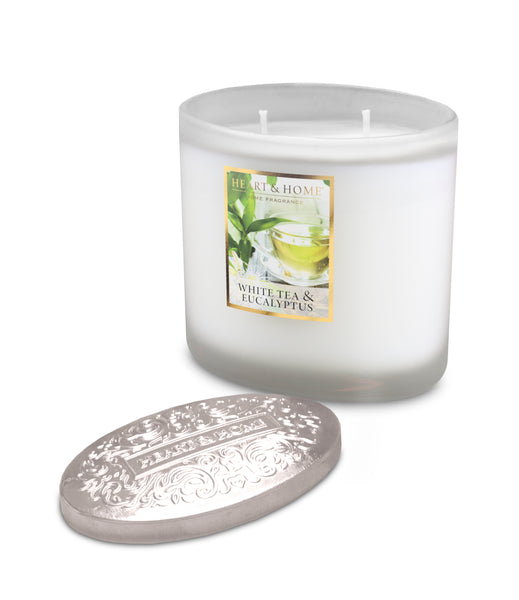 White Tea & Eucalyptus Fragranced 2 Wick Ellipse Candle from Heart & Home Scent With Love Collection
