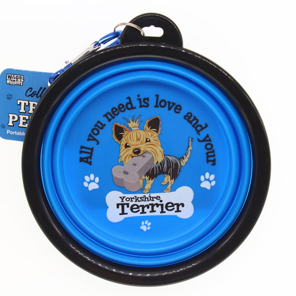 YORKSHIRE TERRIER COLLAPSIBLE TRAVEL DOG BOWL GIFT