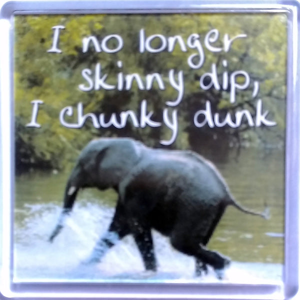 "History & Heraldry Sentiment Fridge Magnet ""I no longer skinny dip I chunky dunk"""