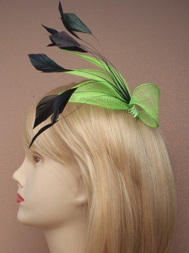 4314 Net & black feather fascinator Bright Neon Orange Pink Yellow Green Wedding (Green)