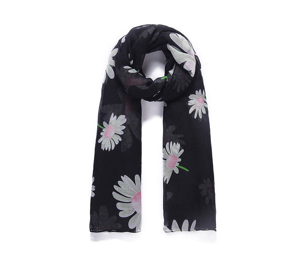 Black floral print long scarf