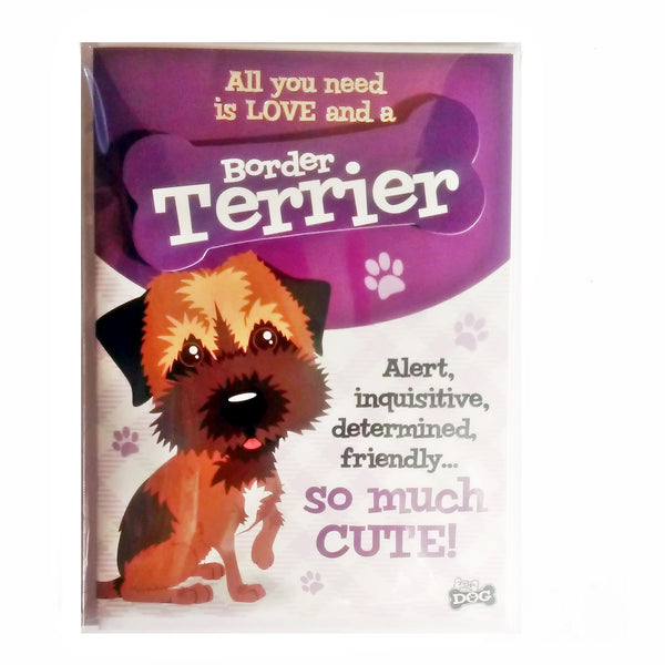 "Wags & Whiskers Dog Greeting Card ""Border Terrier"" by Paper Island"