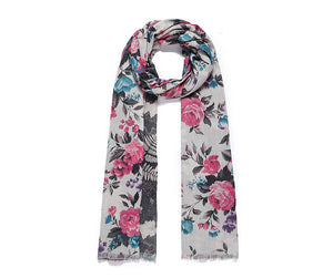 Double sided floral print long scarf