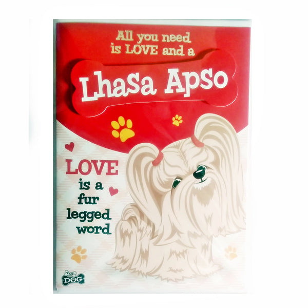 "Wags & Whiskers Dog Greeting Card ""Lhasa Apso"" by Paper Island"