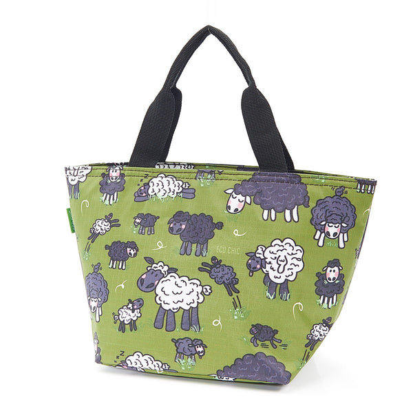 Eco Chic Green Sheep Print Cool Bag