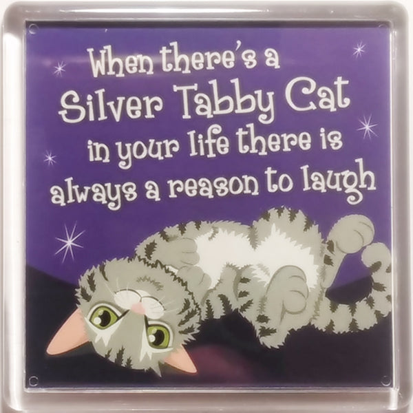 "Wags & Whiskers Dog Magnet ""Silver Tabby Wags & Whiskers Cat (life)"" by Paper Island"