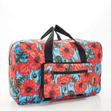 Eco Chic Recycled Cabin Approved 30 Litre Foldable Holdall (Poppies - Blue)