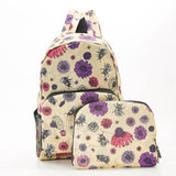 ECO CHIC Foldaway Back Pack/School Bag/Shopping Bag - Made From Recycled Plastic Bottles - Bees 2 (Beige)