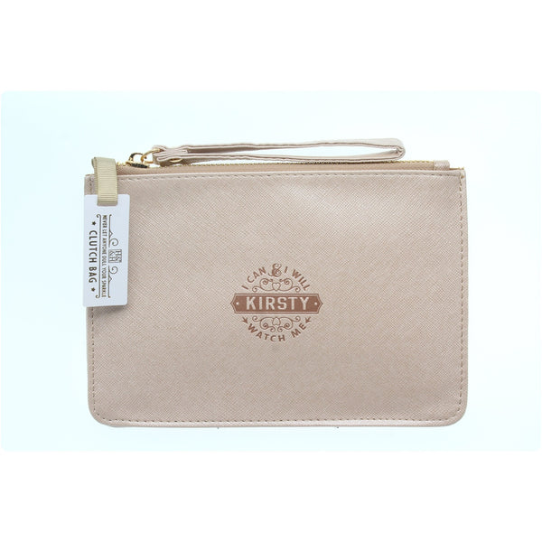 "Clutch Bag With Handle & Embossed Text ""Kirsty"""