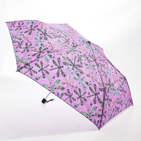 Purple Dragonfly Print Mini Umbrella by Eco Chic