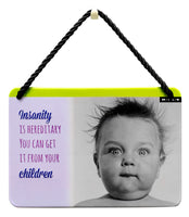 Hang Ups Baby With Wild Hair - Rolled Tin Plaque with Coloured Cord