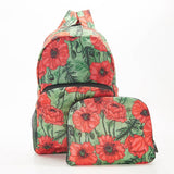 Eco Chic Foldable Expandable Backpack Lightweight Waterproof Green Poppies