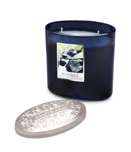 River Rock Fragranced 2 Wick Ellipse Candle from Heart & Home Scent With Love Collection