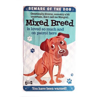 "Wags & Whiskers  Dog Sign/Plaque ""Mixed Breed"" - Tin Plaque"