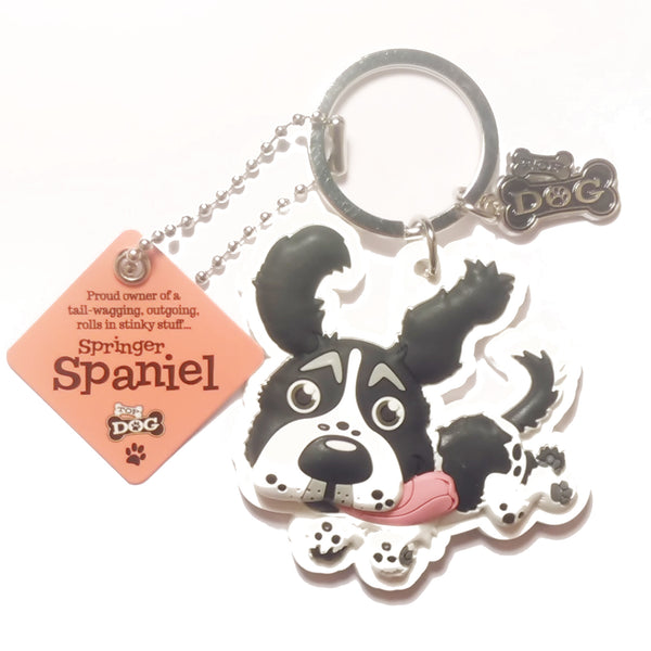 "Dog Key Ring ""Springer Spaniel (Black & White)"" by Paper Island"