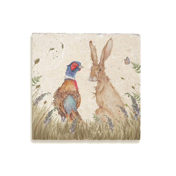 Country Companions: Pheasant & Hare Medium Platter By Kate of Kensington