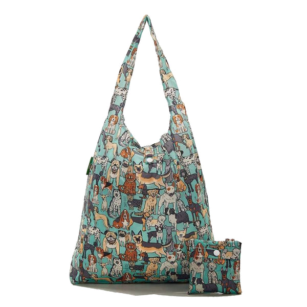 New 2020 Eco Chic 100% Recycled Foldabe Dogs Print Reusable Shopper Bag