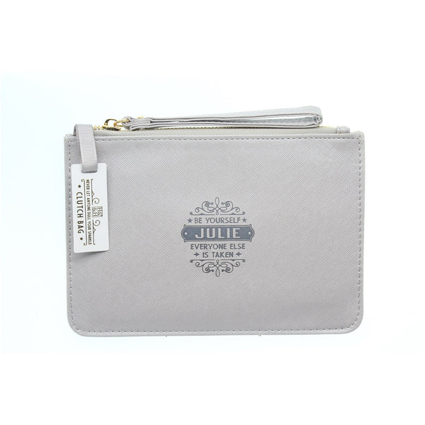 "Clutch Bag With Handle & Embossed Text ""Julie"""
