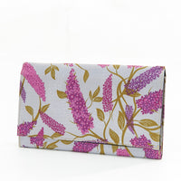 Travel Document Wallet by Eco Chic Waterproof & Durable Fabric Buddleia Design - Grey
