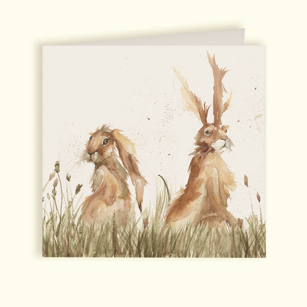 Pair of Hares Greetings Card