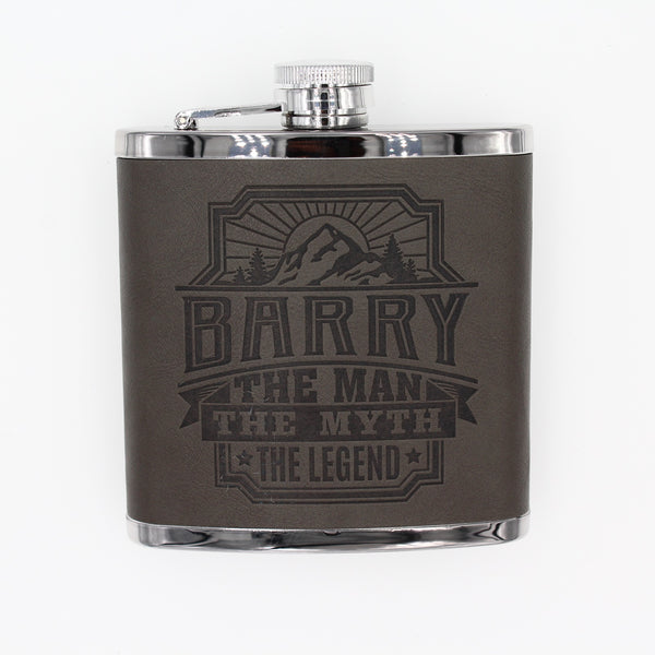 "Top Bloke Mens Gift Hip Flask for Him -  Treat for ""Barry"""