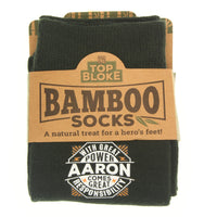 "Top Bloke Mens Gift Socks for Him - A Natural Bamboo Treat for ""Aaron"""