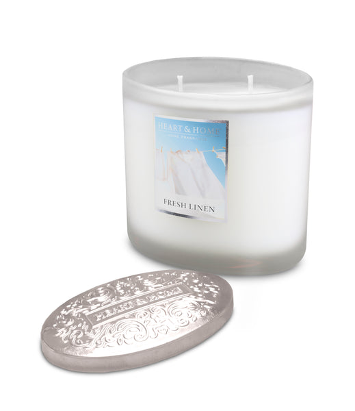 Fresh Linen Fragranced 2 Wick Ellipse Candle from Heart & Home