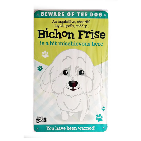 "Wags & Whiskers  Dog Sign/Plaque ""Bichon Frise"" - Tin Plaque"