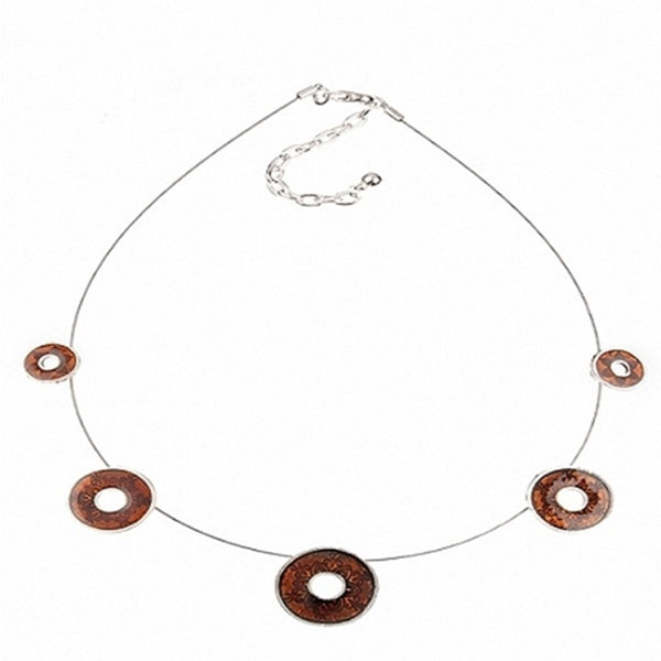 Brown Enamel Disk Necklace