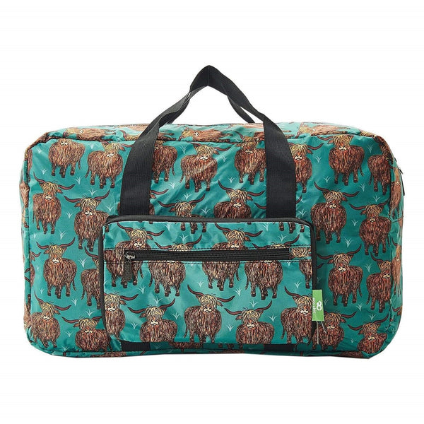 Eco Chic Lightweight Foldable Holdall Highland Cow (Teal)