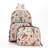 ECO CHIC Foldaway Back Pack/School Bag/Shopping Bag - Made From Recycled Plastic Bottles - Owls (Beige)