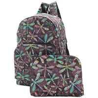 Eco Chic Lightweight Foldable Backpack (Dragonfly Black)