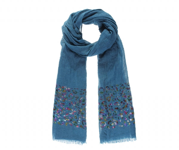 Blue animal foil metallic long scarf