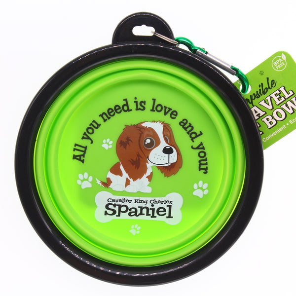 CAVALIER KING CHARLES SPANIEL COLLAPSIBLE TRAVEL DOG BOWL GIFT