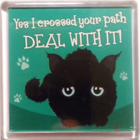 "Wags & Whiskers Cat Magnet ""Black Wags & Whiskers Cat (path)"" by Paper Island"