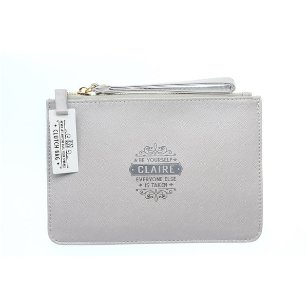 "Clutch Bag With Handle & Embossed Text ""Claire"""