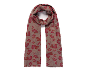 Double sided hearts and polka dot print long scarf