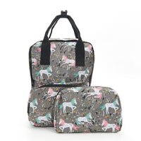 Eco Chic Grey Unicorn Top Handles Foldable Backpack