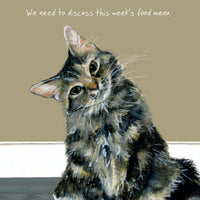 Tabby Cat Greeting Card – Menu by the little dog laughed