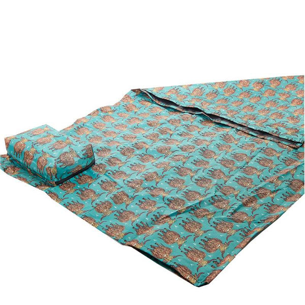 Teal Highland Cow picnic blanket by Eco Chic