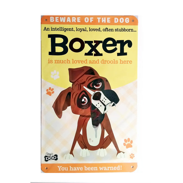 "Wags & Whiskers  Dog Sign/Plaque ""Boxer"" - Tin Plaque"